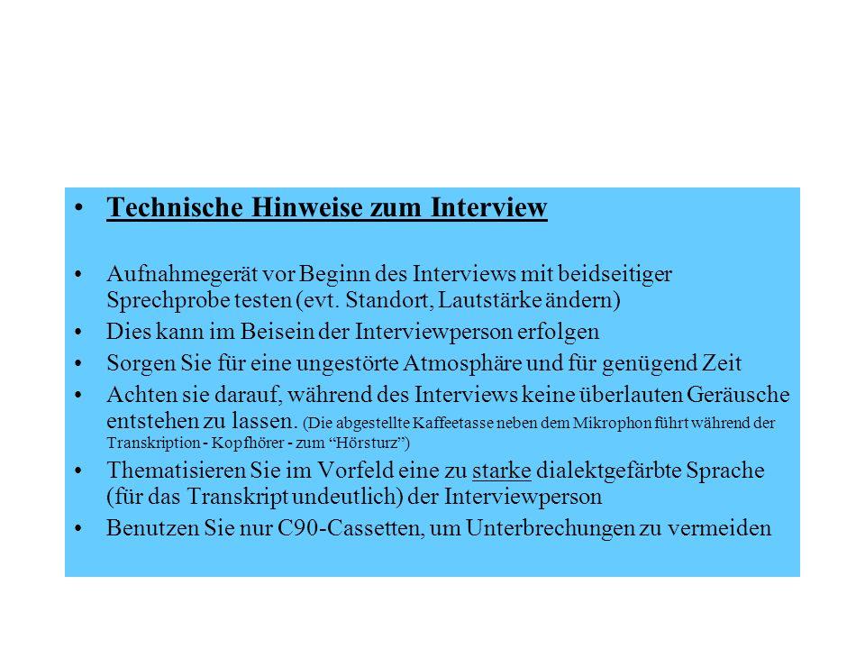 Technische Hinweise zum Interview