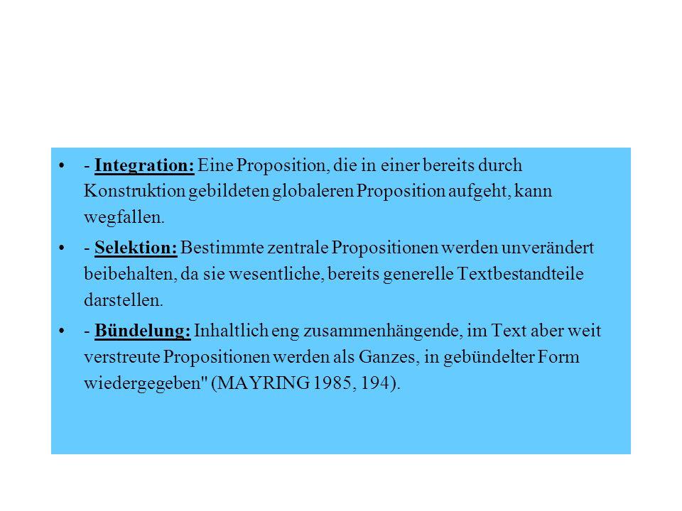 - Integration: Eine Proposition, die in einer bereits durch Konstruktion gebildeten globaleren Proposition aufgeht, kann wegfallen.