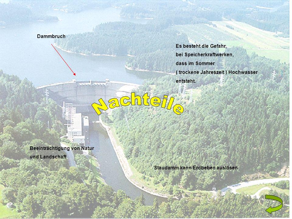 Nachteile Dammbruch Es besteht die Gefahr, bei Speicherkraftwerken,