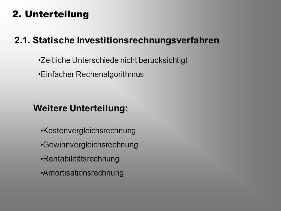 2.1. Statische Investitionsrechnungsverfahren