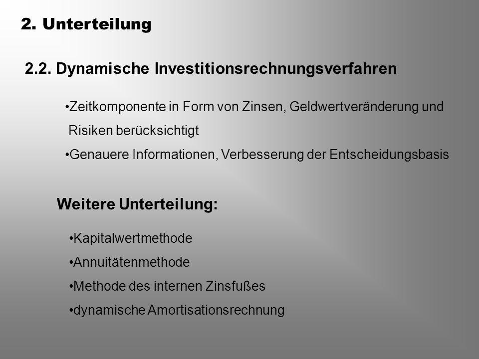 2.2. Dynamische Investitionsrechnungsverfahren