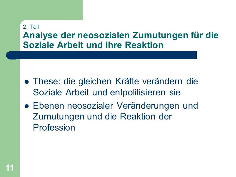 2. Teil Analyse der neosozialen Zumutungen für die Soziale Arbeit und ihre Reaktion