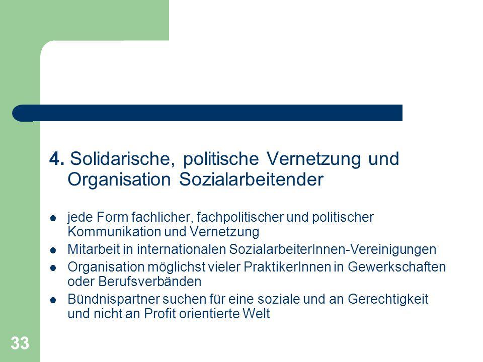 4. Solidarische, politische Vernetzung und Organisation Sozialarbeitender