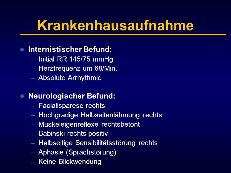 Krankenhausaufnahme Internistischer Befund: Neurologischer Befund: