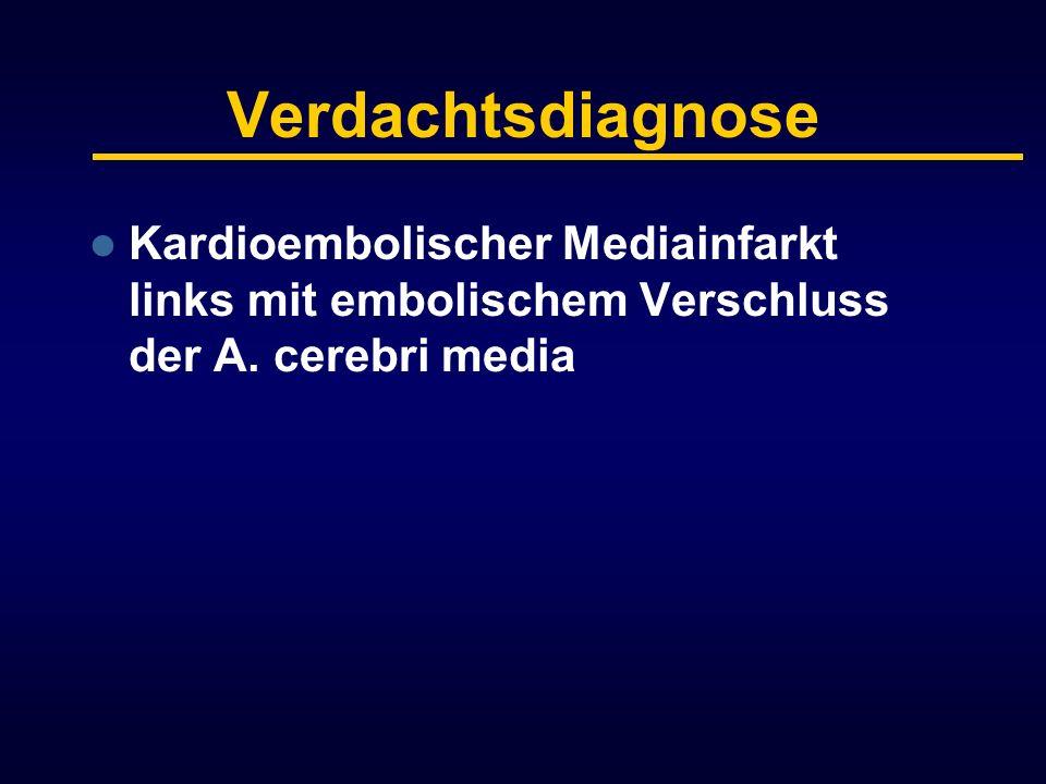 Verdachtsdiagnose Kardioembolischer Mediainfarkt links mit embolischem Verschluss der A.