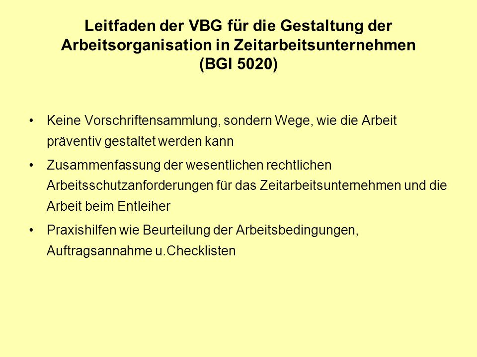 Leitfaden der VBG für die Gestaltung der Arbeitsorganisation in Zeitarbeitsunternehmen (BGI 5020)