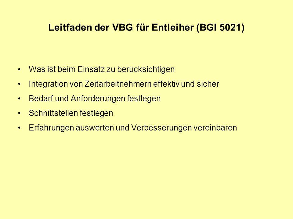 Leitfaden der VBG für Entleiher (BGI 5021)