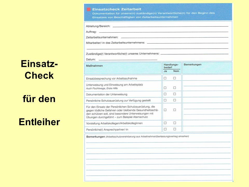 Einsatz-Check für den Entleiher