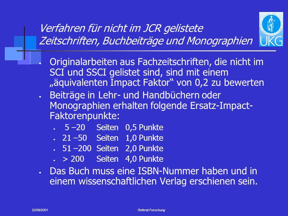Verfahren für nicht im JCR gelistete Zeitschriften, Buchbeiträge und Monographien
