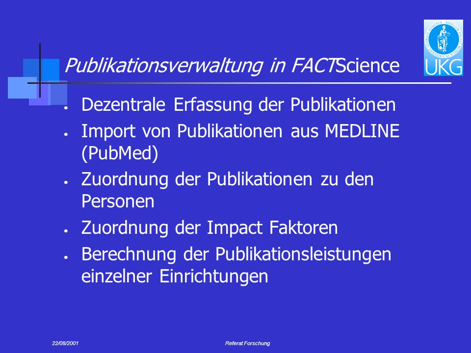 Publikationsverwaltung in FACTScience
