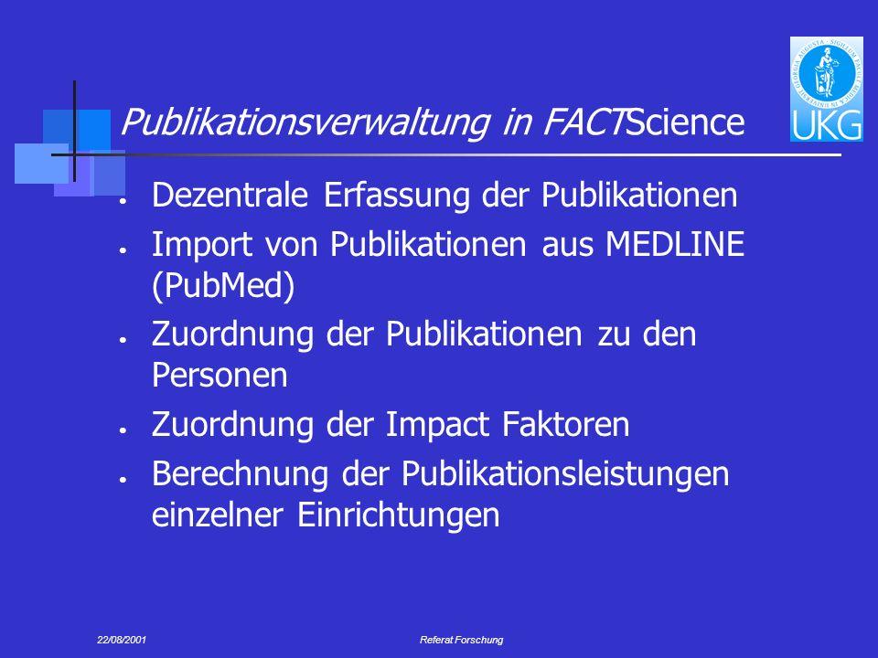 Publikationsverwaltung in FACTScience