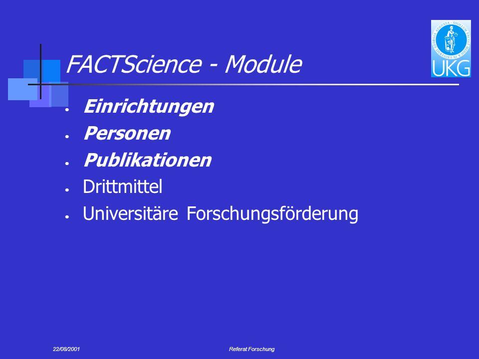 FACTScience - Module Einrichtungen Personen Publikationen Drittmittel
