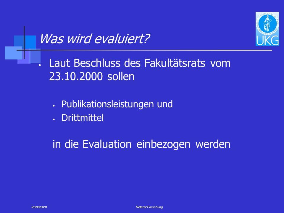 Was wird evaluiert Laut Beschluss des Fakultätsrats vom 23.10.2000 sollen. Publikationsleistungen und.