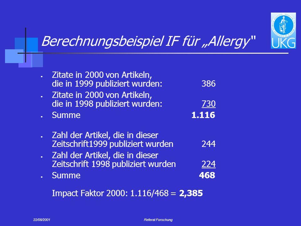 """Berechnungsbeispiel IF für """"Allergy"""