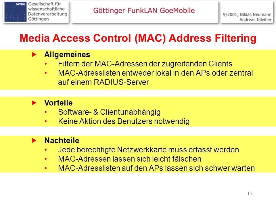 Media Access Control (MAC) Address Filtering