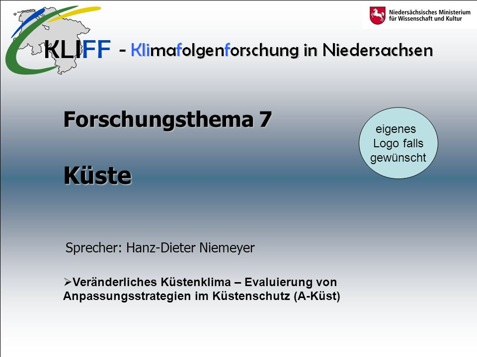 Küste Forschungsthema 7 Sprecher: Hanz-Dieter Niemeyer eigenes