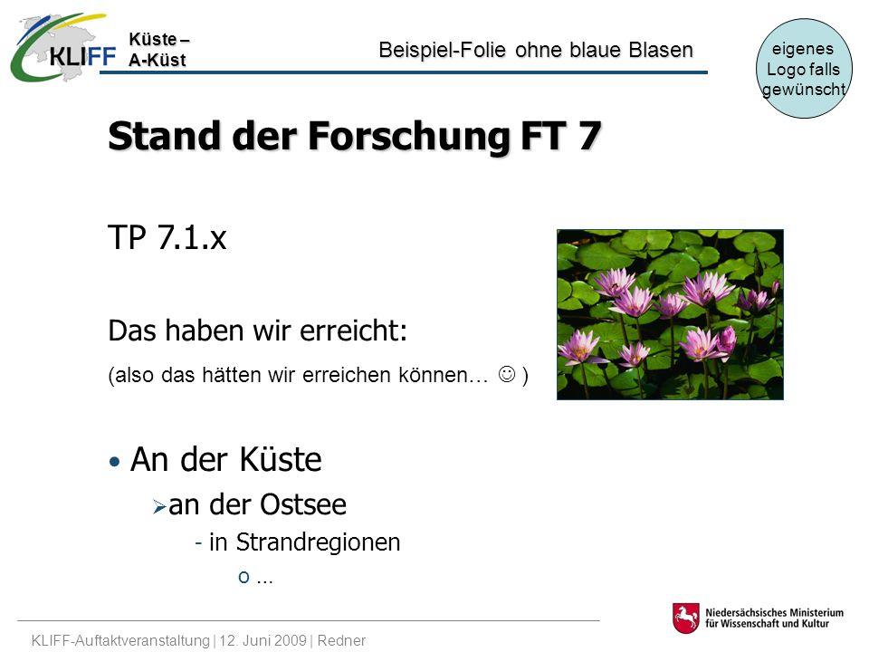 Stand der Forschung FT 7 TP 7.1.x Das haben wir erreicht: An der Küste