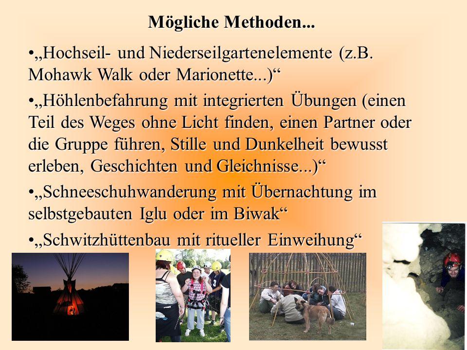 """Mögliche Methoden... """"Hochseil- und Niederseilgartenelemente (z.B. Mohawk Walk oder Marionette...)"""