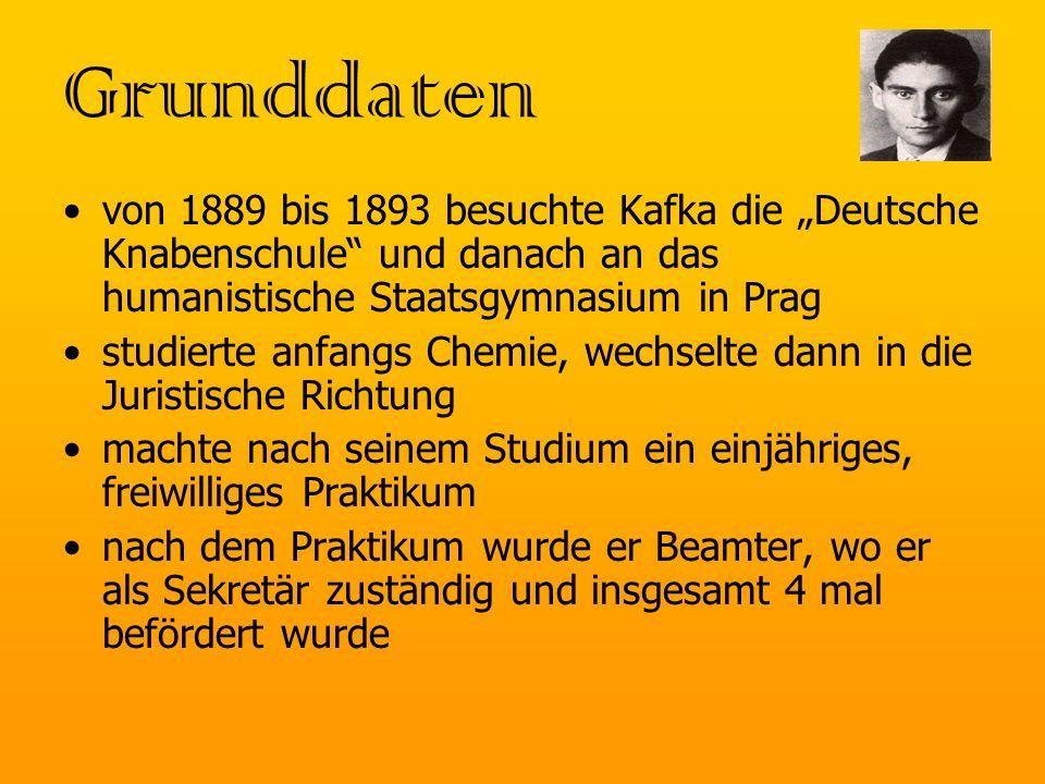 """Grunddaten von 1889 bis 1893 besuchte Kafka die """"Deutsche Knabenschule und danach an das humanistische Staatsgymnasium in Prag."""