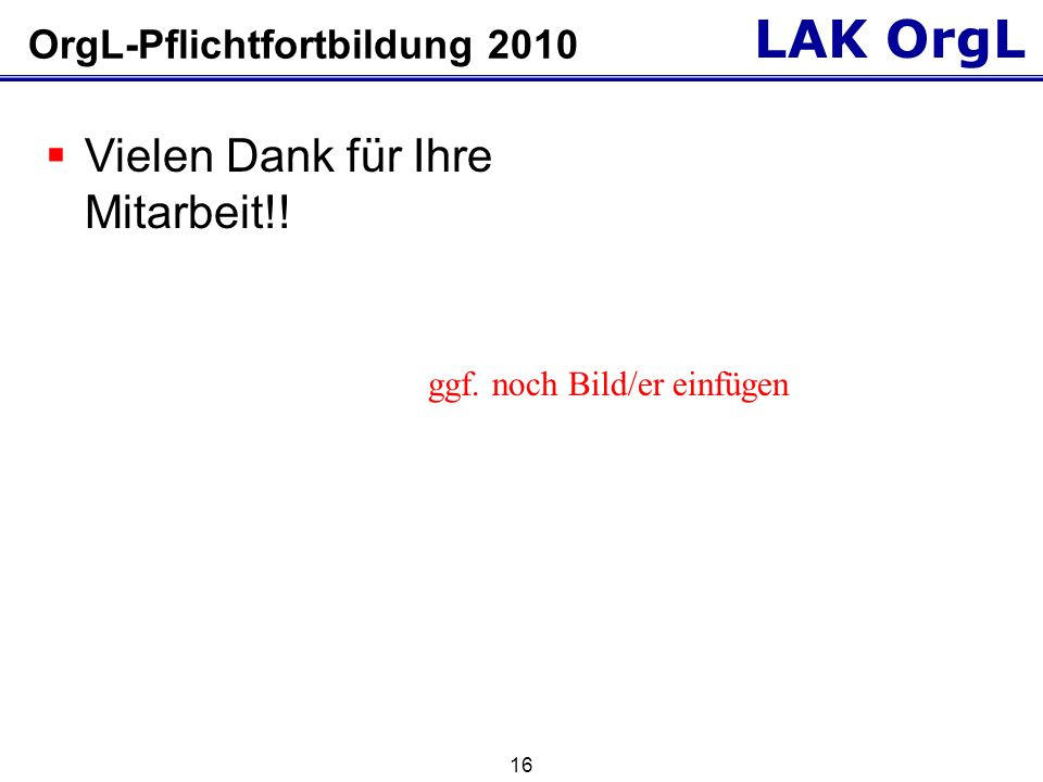 OrgL-Pflichtfortbildung 2010