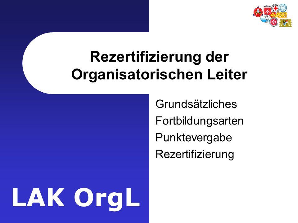 Rezertifizierung der Organisatorischen Leiter
