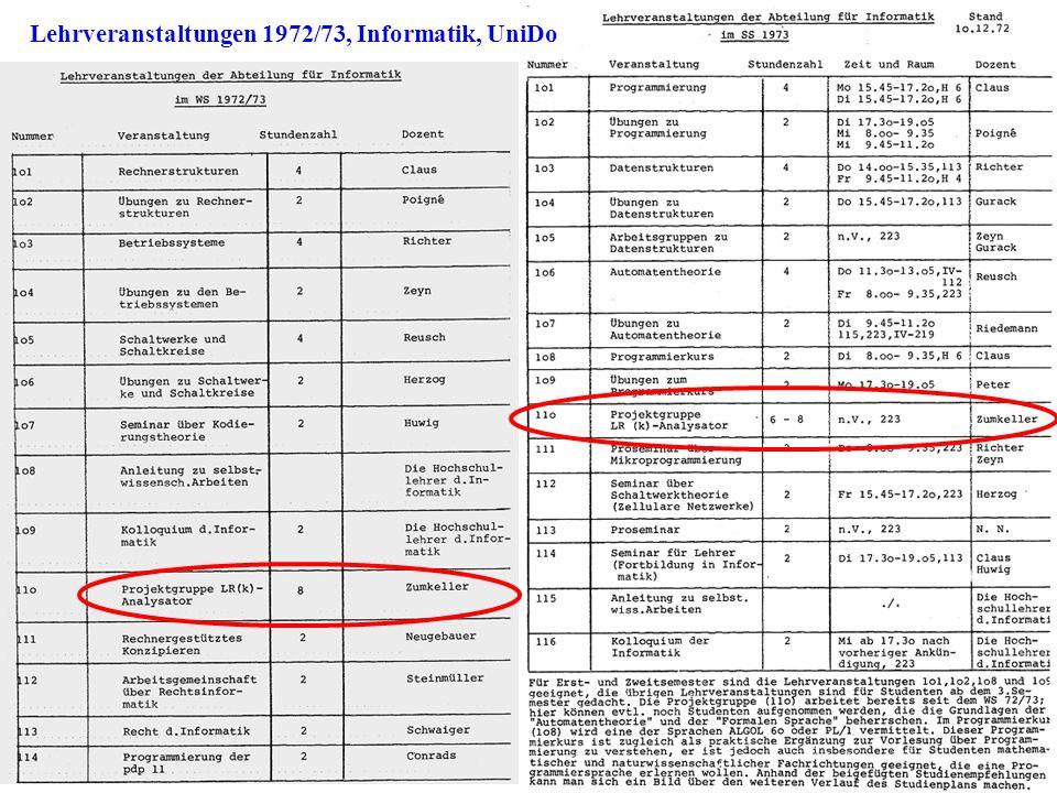 Lehrveranstaltungen 1972/73, Informatik, UniDo