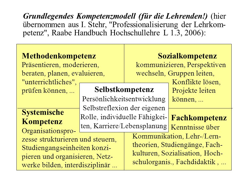 Grundlegendes Kompetenzmodell (für die Lehrenden