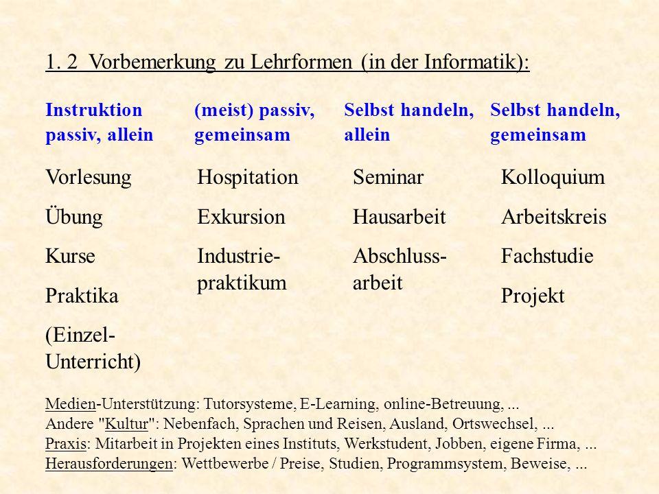 1. 2 Vorbemerkung zu Lehrformen (in der Informatik):