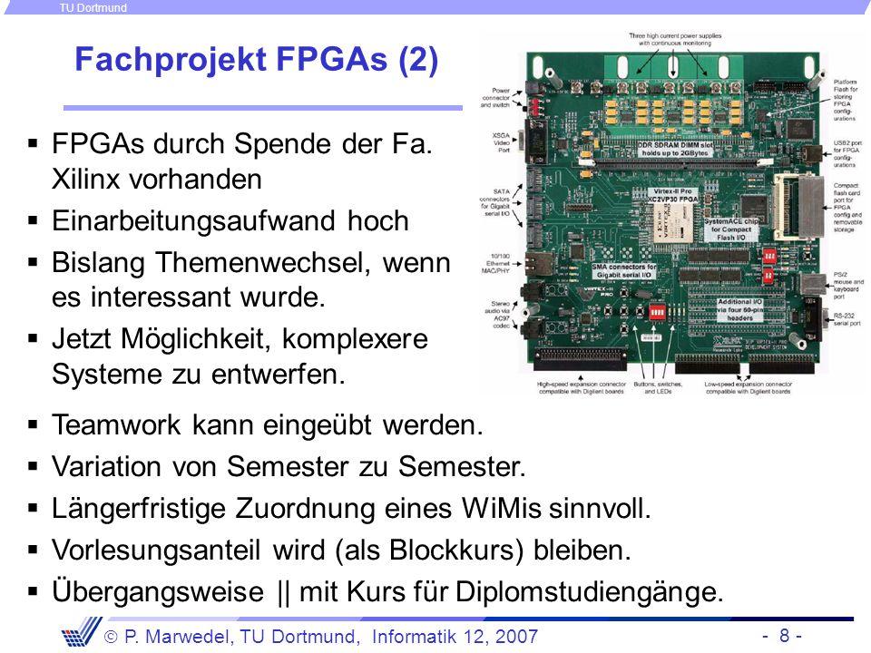 Fachprojekt FPGAs (2) FPGAs durch Spende der Fa. Xilinx vorhanden