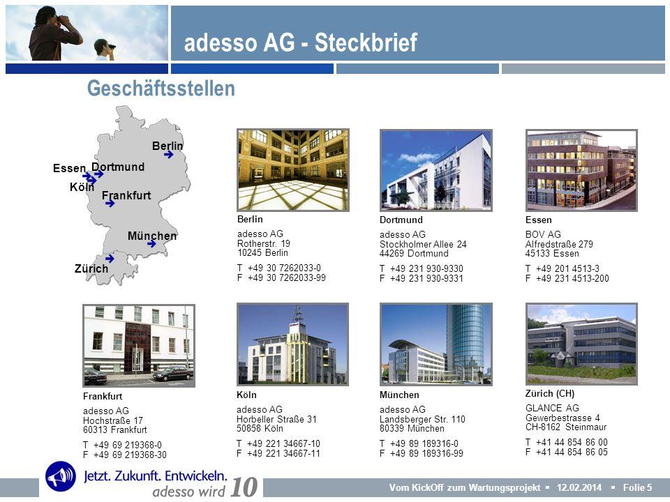adesso AG - Steckbrief Geschäftsstellen Berlin Essen Dortmund Köln