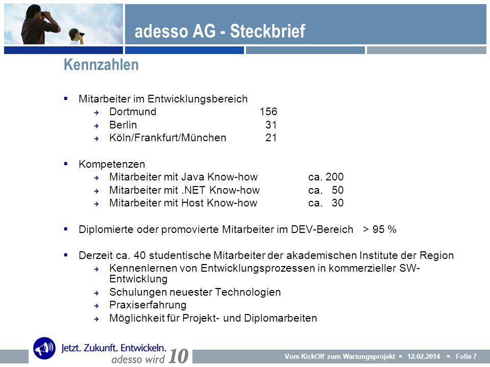 adesso AG - Steckbrief Kennzahlen Mitarbeiter im Entwicklungsbereich