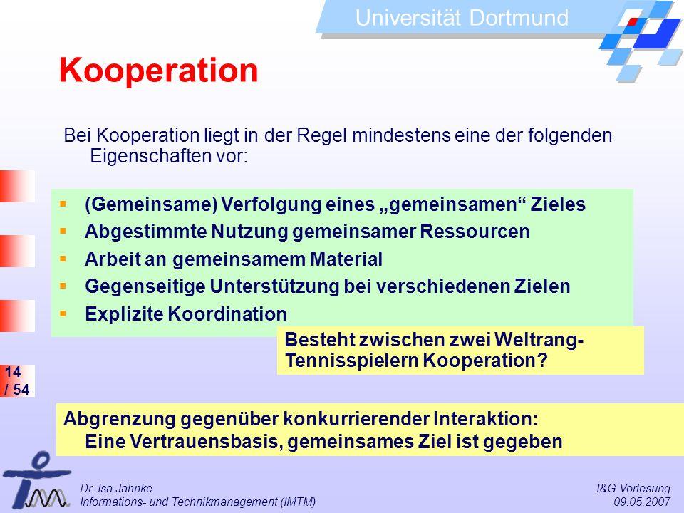 """Kooperation Bei Kooperation liegt in der Regel mindestens eine der folgenden Eigenschaften vor: (Gemeinsame) Verfolgung eines """"gemeinsamen Zieles."""