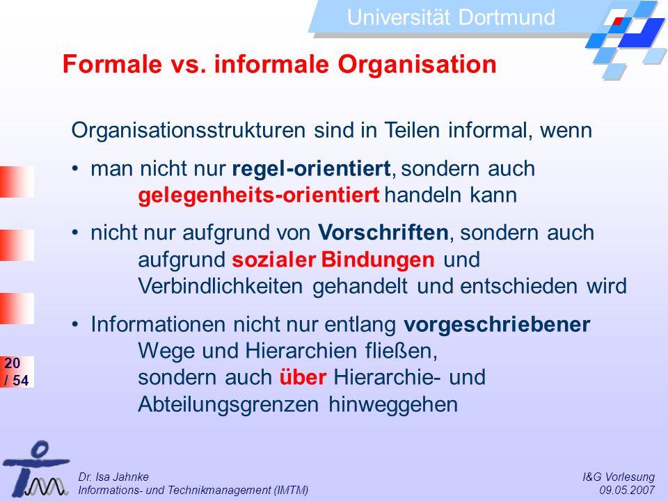 Formale vs. informale Organisation