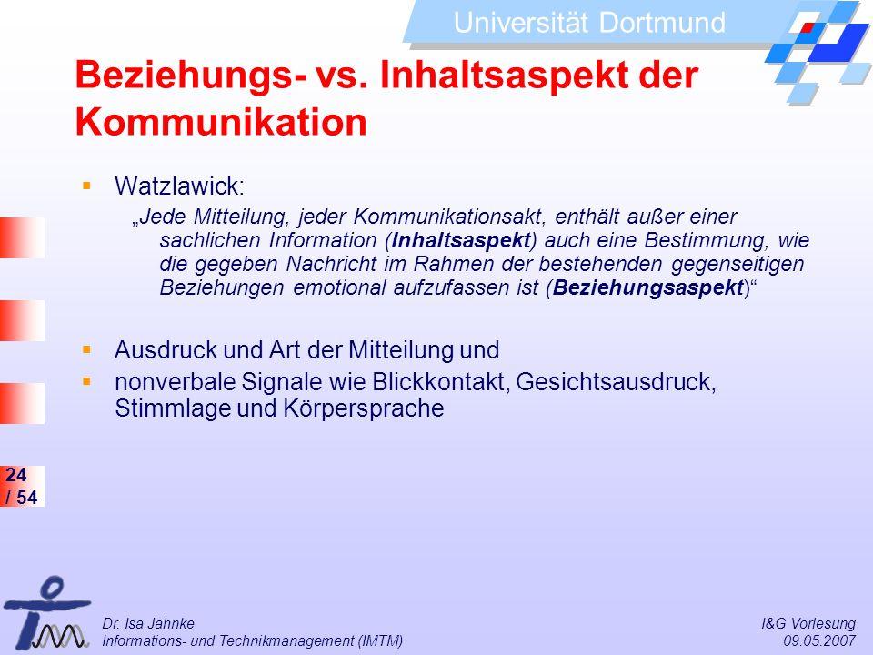 Beziehungs- vs. Inhaltsaspekt der Kommunikation