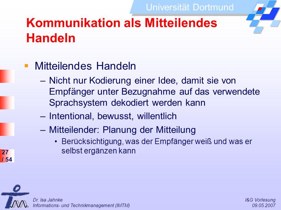 Kommunikation als Mitteilendes Handeln