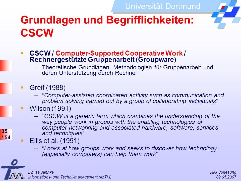 Grundlagen und Begrifflichkeiten: CSCW
