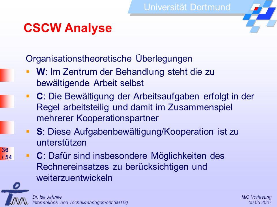 CSCW Analyse Organisationstheoretische Überlegungen