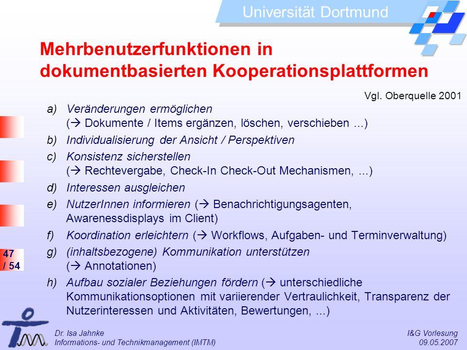 Mehrbenutzerfunktionen in dokumentbasierten Kooperationsplattformen