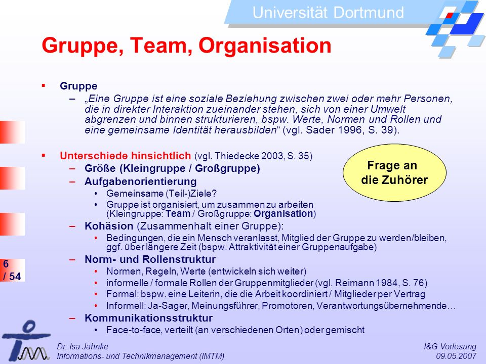 Gruppe, Team, Organisation
