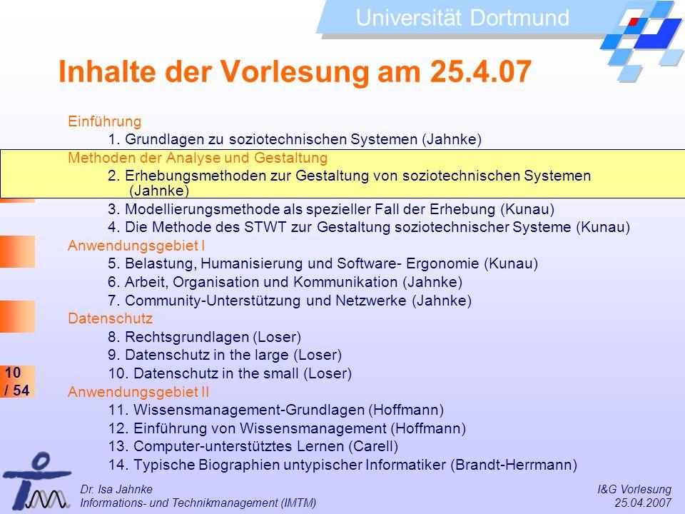 Inhalte der Vorlesung am 25.4.07