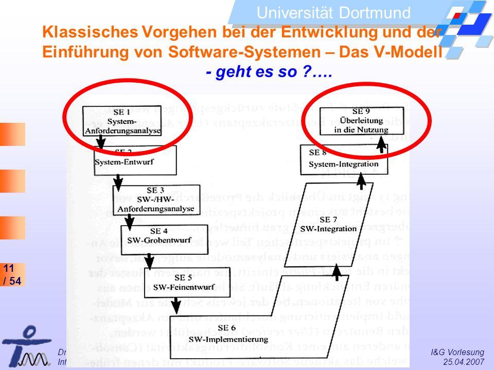 Klassisches Vorgehen bei der Entwicklung und der Einführung von Software-Systemen – Das V-Modell - geht es so ….
