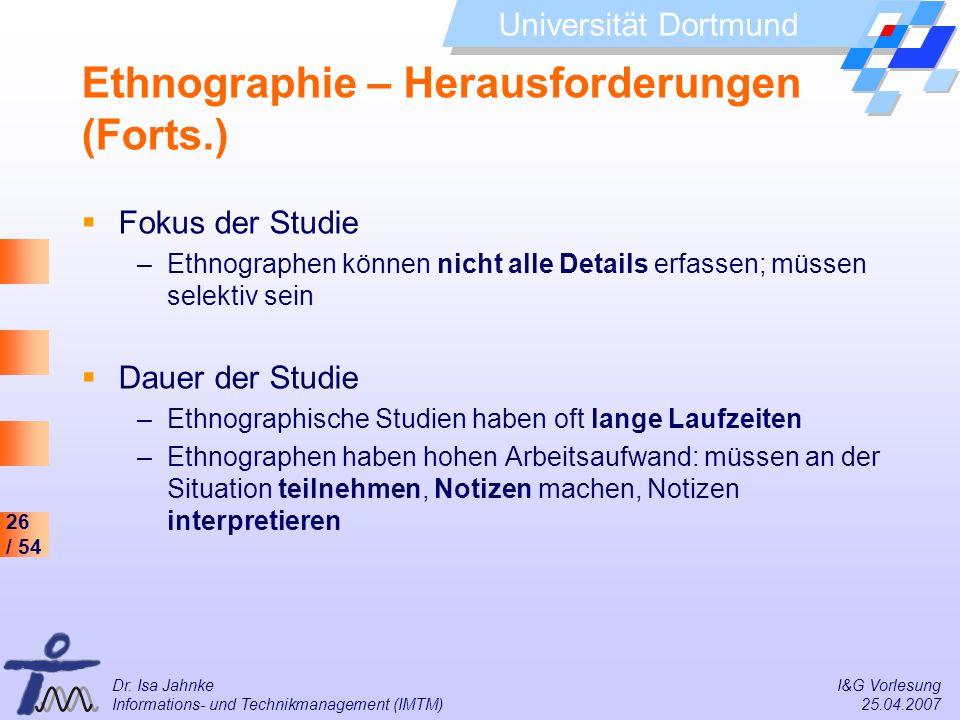 Ethnographie – Herausforderungen (Forts.)