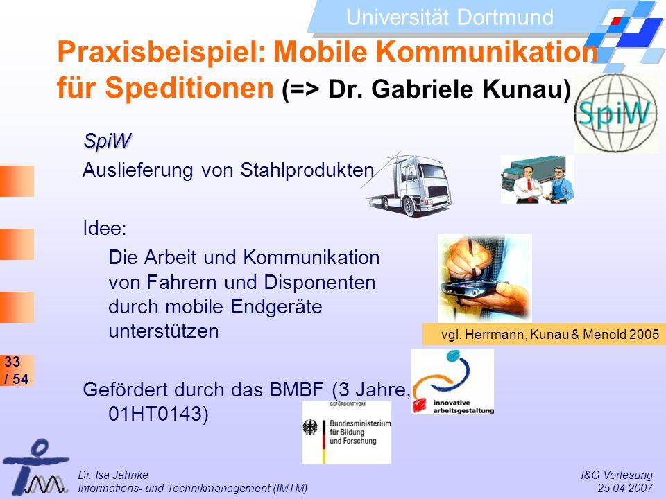 Praxisbeispiel: Mobile Kommunikation für Speditionen (=> Dr