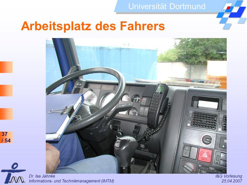 Arbeitsplatz des Fahrers