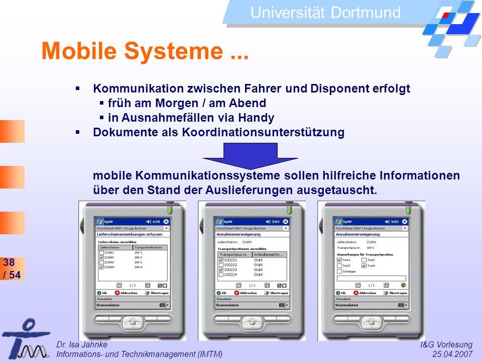 Mobile Systeme ... Kommunikation zwischen Fahrer und Disponent erfolgt