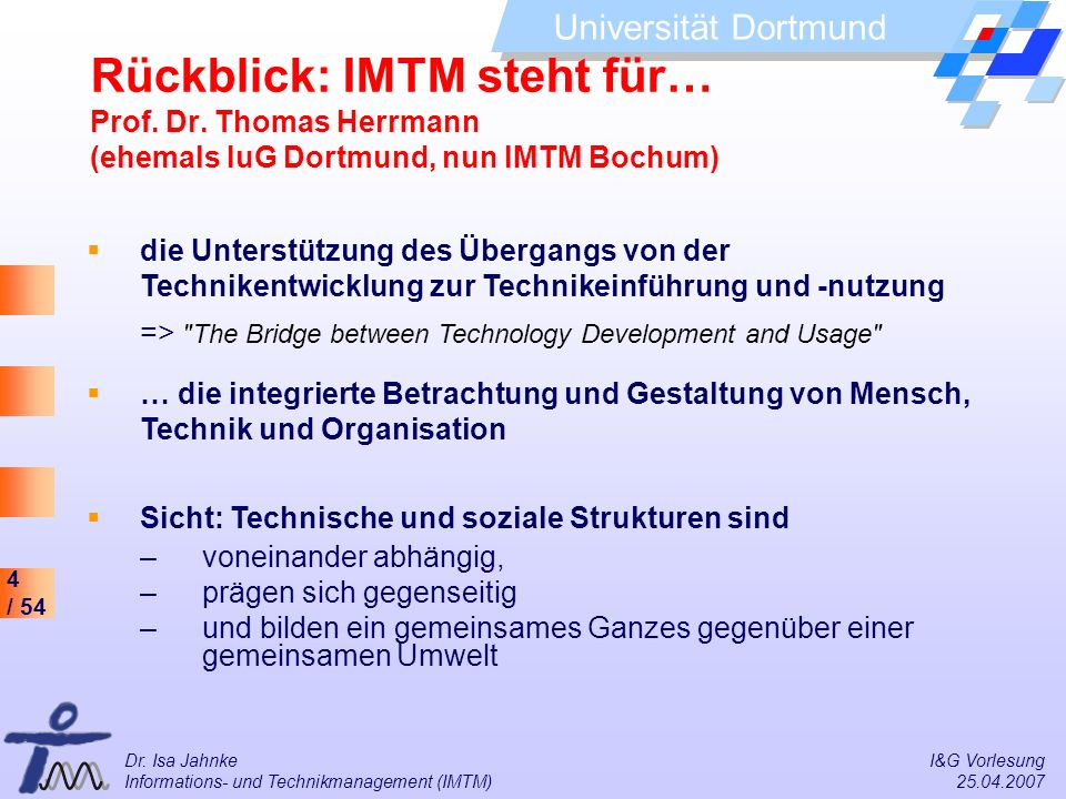 Rückblick: IMTM steht für… Prof. Dr