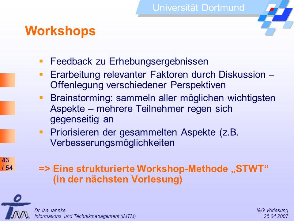 Workshops Feedback zu Erhebungsergebnissen
