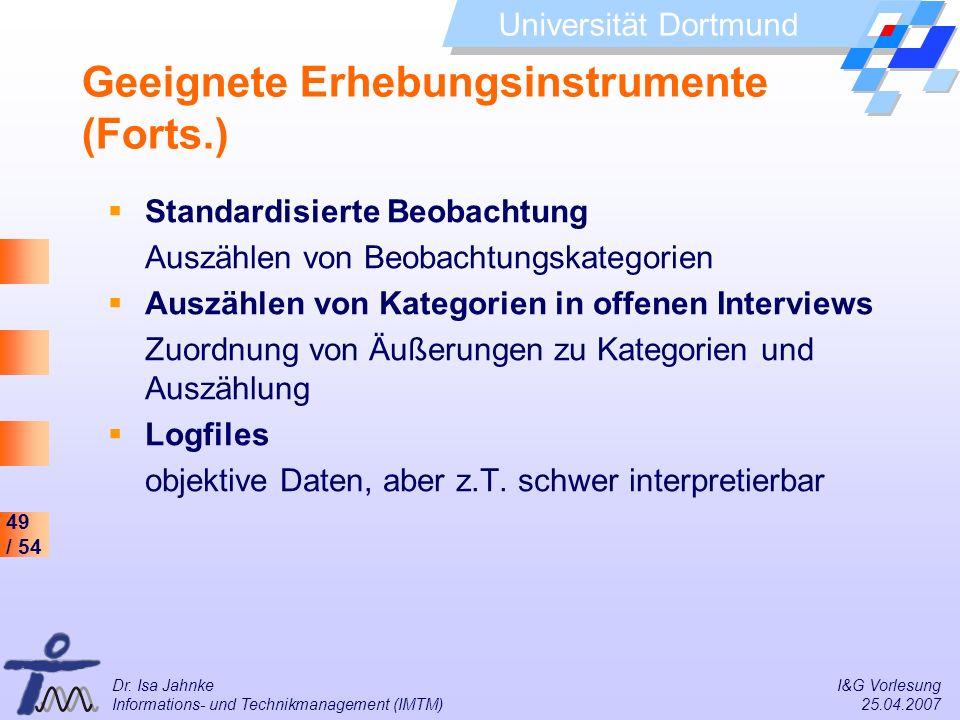 Geeignete Erhebungsinstrumente (Forts.)