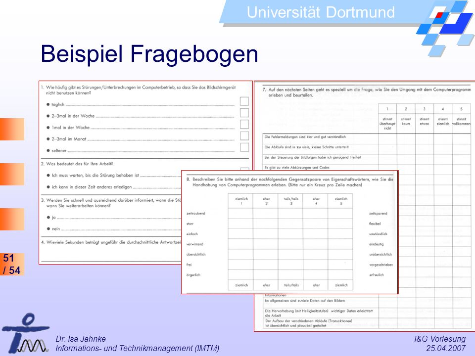 Beispiel Fragebogen Dr. Isa Jahnke I&G Vorlesung