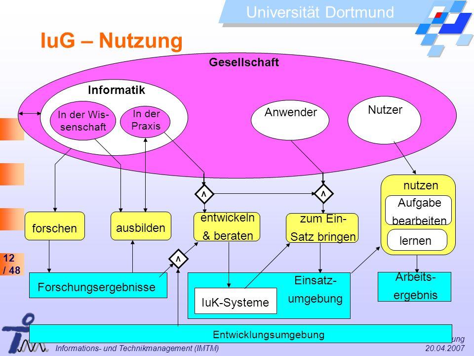 IuG – Nutzung Gesellschaft Informatik Nutzer Anwender nutzen Aufgabe